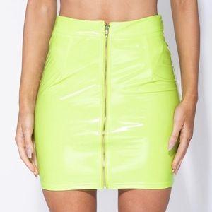 Lime green vinyl skirt